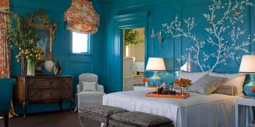 The 2007 Decorators' Showcase house turquoise and orange master bedroom